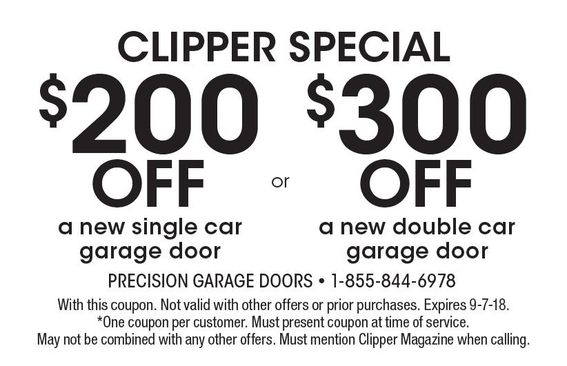 PRECISION GARAGE DOORS: Clipper Special: $200off A New Single Car Garage  Door OR