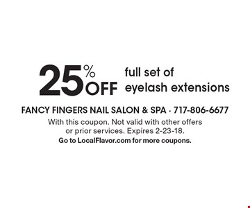 25% off full set of eyelash extensions. With this coupon. Not valid with other offers or prior services. Expires 2-23-18. Go to LocalFlavor.com for more coupons.