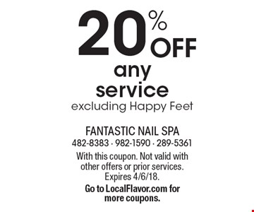 20% OFF any service excluding Happy Feet. With this coupon. Not valid with other offers or prior services. Expires 4/6/18. Go to LocalFlavor.com for more coupons.