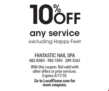 10% OFF any service excluding Happy Feet. With this coupon. Not valid with other offers or prior services. Expires 8/17/18. Go to LocalFlavor.com for more coupons.