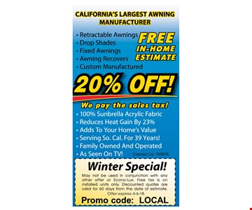 20% Off Awnings