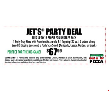 Jet's party deal $67.99