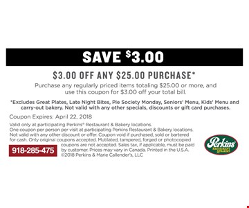 $3.00 Off Any $25.00 Purchase