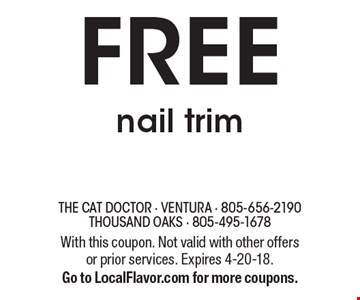 FREE nail trim. With this coupon. Not valid with other offers or prior services. Expires 4-20-18. Go to LocalFlavor.com for more coupons.