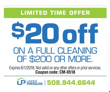 Expires 6/1/2018. Not valid on any other offers or prior services.