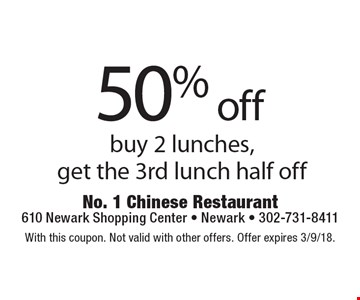 50% off lunch. Buy 2 lunches, get the 3rd lunch half off. With this coupon. Not valid with other offers. Offer expires 3/9/18.