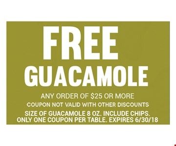 Free Guacamole with any order of $25 or more