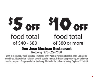 $5 off food total of $40 - $80. $10 off food total of $80 or more. With this coupon. Valid Monday-Thursday only. Valid at Netcong location only. Cannot be combined. Not valid on holidays or with special menus. Print ad coupons only, no online or mobile coupons. Coupon valid on food only. Not valid for online ordering. Expires 12-14-18.