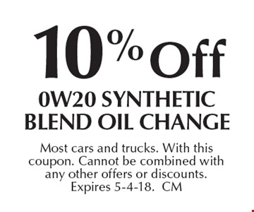 10% off 0W20 synthetic blend oil change. Most cars and trucks. With this coupon. Cannot be combined with any other offers or discounts. Expires 5-4-18. CM