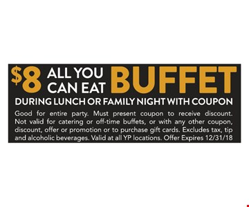 Good for entire party. Must present coupon to receive discount.