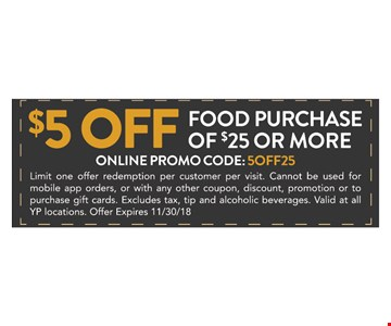 Online promo Code: 5OFF25 