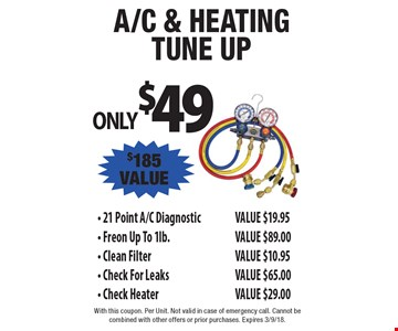 A/C & heating tune up  ONLY $49