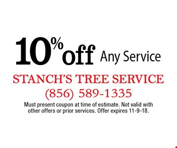 10% off Any Service. Must present coupon at time of estimate. Not valid with other offers or prior services. Offer expires 11-9-18.