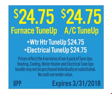 Furnace or AC tuneup for $24.75.