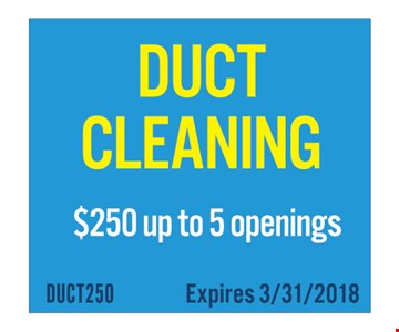 Duct cleaning for $250 for up to 5 openings.