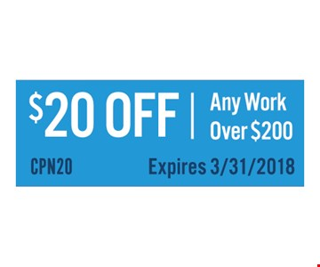$20 off any work over $200