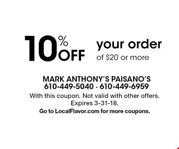 10% Off your order of $20 or more. With this coupon. Not valid with other offers. Expires 3-31-18. Go to LocalFlavor.com for more coupons.