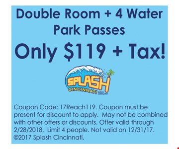 Double Room Plus 4 Water Park Passes Only $119 Plus Tax