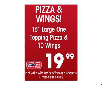 Pizza & Wings $19.99 Large 16
