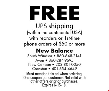 FREE UPS shipping (within the continental USA) with reorders or 1st-time phone orders of $50 or more. Must mention this ad when ordering. One coupon per customer. Not valid with other offers or prior purchases. Expires 6-15-18.