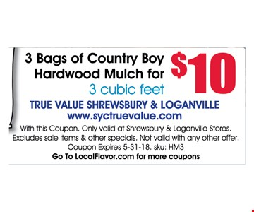 3 Bags Of Country Boy Hardwood Mulch For 3 Cubic Feet $10