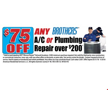 $75 off any Brothers a/c or plumbing repair over $200
