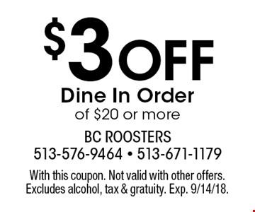$3 Off Dine In Order of $20 or more. With this coupon. Not valid with other offers. Excludes alcohol, tax & gratuity. Exp. 9/14/18.