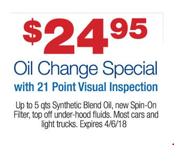 Oil change for $24.95.