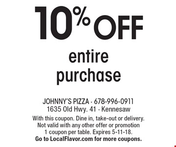 10% OFF entire purchase. With this coupon. Dine in, take-out or delivery. Not valid with any other offer or promotion 1 coupon per table. Expires 5-11-18. Go to LocalFlavor.com for more coupons.