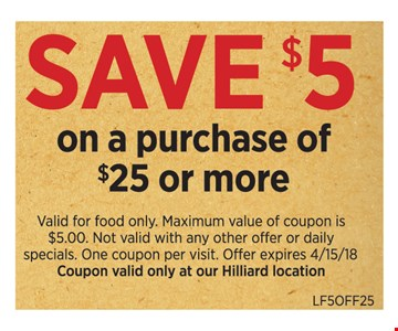 Save $5 On a Purchase of $25 or more