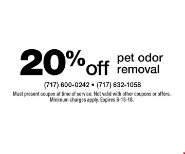 20% off pet odor removal. Must present coupon at time of service. Not valid with other coupons or offers. Minimum charges apply. Expires 6-15-18.