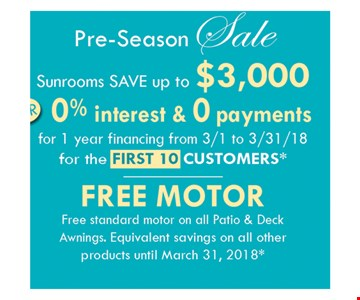 Save up to $3,000 on sunrooms.