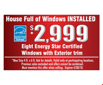 $2999 eight energy star certified windows with exterior trim