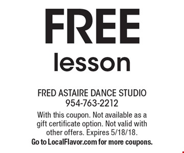 Free lesson. With this coupon. Not available as a gift certificate option. Not valid with other offers. Expires 5/18/18. Go to LocalFlavor.com for more coupons.