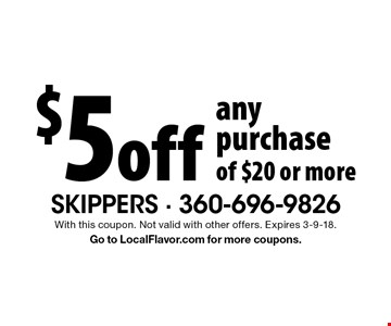 $5 off any purchase of $20 or more. With this coupon. Not valid with other offers. Expires 3-9-18. Go to LocalFlavor.com for more coupons.