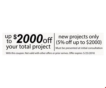 Up to $2,000 Off your total project