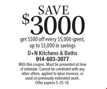 Save $3000 get $500 off every $5,000 spent, up to $3,000 in savings. With this coupon. Must be presented at time of estimate. Cannot be combined with any other offers, applied to labor invoices, or used on previously estimated work. Offer expires 5-25-18.