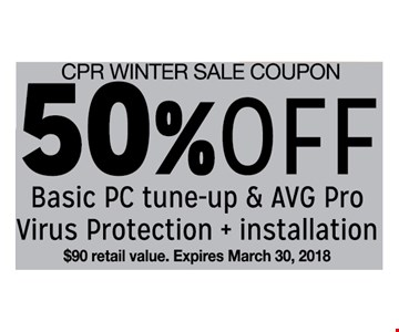 50% off basic PC tune-up and AVG pro virus protection and installation