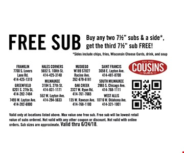 Valid only at location listed above. Max value one free sub. Free sub will be lowest retail value of subs ordered. Not valid with any other coupon or discount. Not valid with online orders. sub sizes are approximate