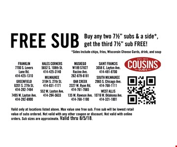 """Free Sub. Buy any two 71/2"""" subs & a side*, get the third 71/2"""" sub FREE! *Sides include chips, fries, Wisconsin Cheese Curds, drink, and soup. Valid only at locations listed above. Max value one free sub. Free sub will be lowest retail value of subs ordered. Not valid with any other coupon or discount. Not valid with online orders. Sub sizes are approximate."""