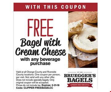 Free Bagel with Cream Cheese with any beverage purchase. Expires 3/31/18.