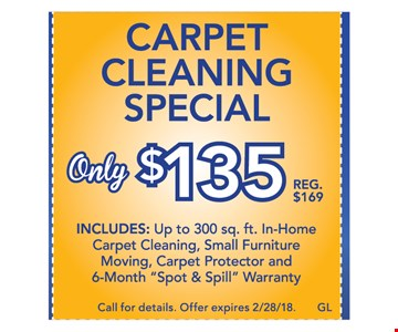 Carpet Cleaning special only $135 - includes up to 300sq. ft.