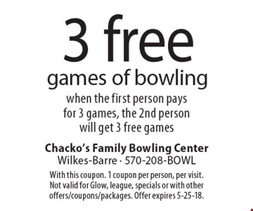 3 free games of bowling when the first person pays for 3 games, the 2nd person will get 3 free games. With this coupon. 1 coupon per person, per visit. Not valid for Glow, league, specials or with other offers/coupons/packages. Offer expires 5-25-18.