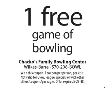 1 free game of bowling. With this coupon. 1 coupon per person, per visit. Not valid for Glow, league, specials or with other offers/coupons/packages. Offer expires 5-25-18.