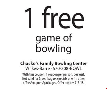 1 free game of bowling. With this coupon. 1 coupon per person, per visit. Not valid for Glow, league, specials or with other offers/coupons/packages. Offer expires 7-6-18.