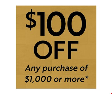 $100 Off Any Purchase of $1,000 or More. Must Present Coupon at Time of Purchase. Limit one per household. Not valid with other offers, discounts or prior purchases. Excludes outlet material and clearance items. Discount applied before tax. Valid at Best Tile Cheektowaga location only.