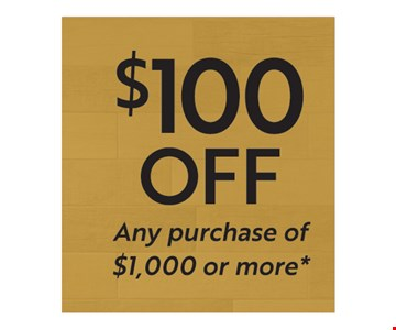 $100 Off any purchase of $1,000 or more. Must present   coupon at time of purchase. limit one per household. Not valid with other offers, discounts or prior purchases. Excludes outlet material and clearance items. Discount applied before tax. Valid at Best Tile Rochester location only. Expires 6/30/18.
