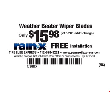 Only $15.98 Weather Beater Wiper Blades (24