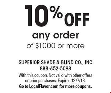 10% OFF any order of $1000 or more. With this coupon. Not valid with other offers or prior purchases. Expires 12/7/18. Go to LocalFlavor.com for more coupons.