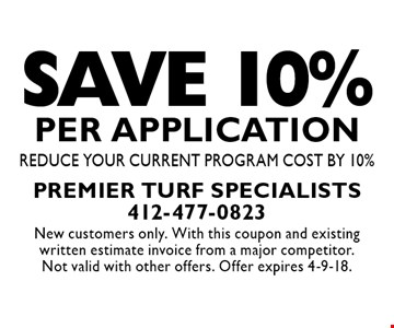 Save 10% per application. Reduce your current program cost by 10%. New customers only. With this coupon and existing written estimate invoice from a major competitor. Not valid with other offers. Offer expires 4-9-18.
